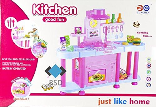 Große Kinderküche Just Like Home - Moderne Küche mit Licht, Ton, Backofen, Töpfe, Säfte, Gemüse und viel Zubehör - Meine erste Küche - Spielküche - Höhe: 70 cm - BRAUN