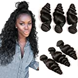 DAIMER Brazilian Hair 3 Bundles Weave Loose Wave 100 Unprocessed Cheap Natural Virgin Remy Human Hair Extension Weave Weft 8a Total 300g Natural Color 8 10 12 Inches