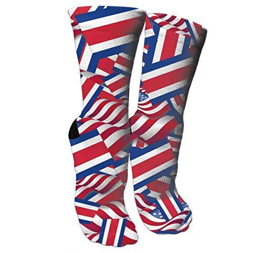Jxrodekz Crazy Socks Costa Rica Flag with America Flag 3D Crew Socks