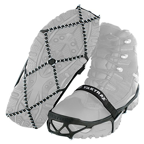 Traction cleats that fit over shoes for safely walking, hiking, or jogging on packed snow or ice