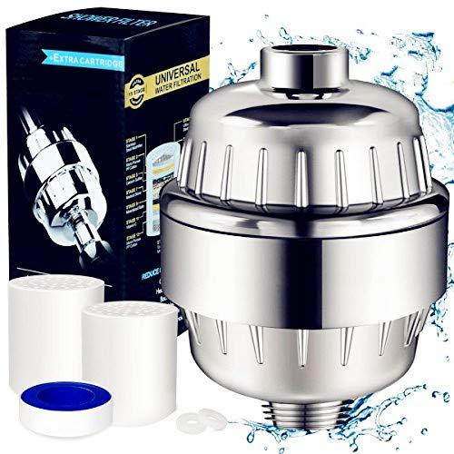 Youtoo Duschwasserfilter Shower Filter Duschfilter 15 Stufen Duschkopf Wasserfilte mit 2 Filter Kartusche & Teflonband filtert Schadstoffe, Chlor,Schwermetalle,Wasser erweichen - Stufe 2 Dusche Filter