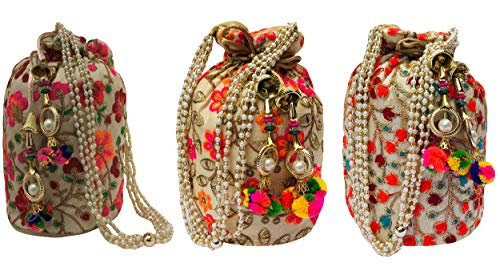 Filora Women's Ethnic Rajasthani Silk Potli Bag (Multicolour) -Combo of 3