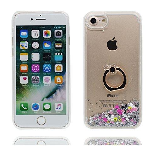 """iPhone 6 Coque, Étui Cover Housse pour iPhone 6S 4.7"""", Bling Glitter Fluide Liquide Sparkles Sables Hard Shell ring Support iPhone 6 Case 4.7"""", Résistant à la poussière Scratch -Elegant # 8"""