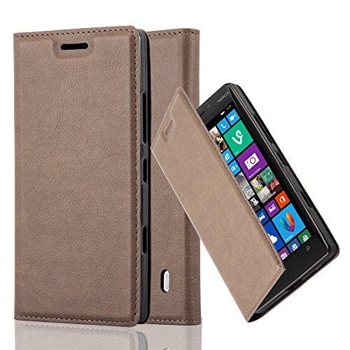 Cadorabo Hülle für Nokia Lumia 929/930 - Hülle in Kaffee BRAUN – Handyhülle mit Magnetverschluss, Standfunktion und Kartenfach - Case Cover Schutzhülle Etui Tasche Book Klapp Style