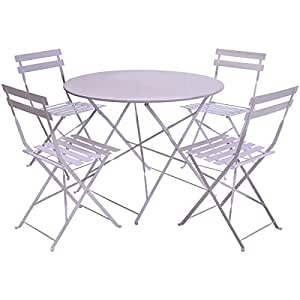 charles bentley gartenm bel set f r terrasse 1 runder tisch 4 st hle aus metall. Black Bedroom Furniture Sets. Home Design Ideas