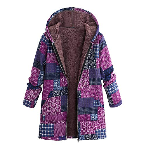 Damen Herbst Winter Sweatshirt Vintage Steppjacke Kapuzenjacke Lange Ärmel Hoodie mit Kapuze Pullover Outwear Dick Coats Mode Tops ()