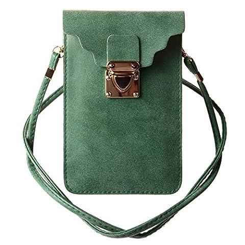 KISS GOLD (TM) Luxury Matte PU Leather Mini Crossbody Single Shoulder Bag Cellphone Pouch (Model C-Dust Green)