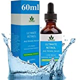 Retinol Serum 60ML-FLASCHE! Retinol Gesichts Serum 2,5% mit Hyaluronsäure & Vitamin E, Bestes Anti Aging Retinol Serum für Augenringe, Feuchtigkeitsspendendes Gesicht & Hals, Tränensäcke Falten, Krähenfüsse, Feine Linien & empfindliche Haut - Hochfeste Retinol Serum Behandlung