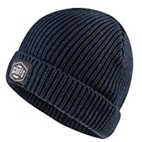 Knitted Fishermans Beanie Hat Black, Navy, Grey or Sand (Navy)