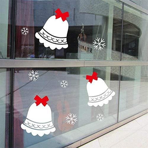 ZWXDMY Weihnachten Fensteraufkleber,White Christmas Bells Schneeflocken, DIY Abnehmbare wasserdichte, Schaufenster Glas Home Kunst Dekor, Urlaub Wandbild Poster -