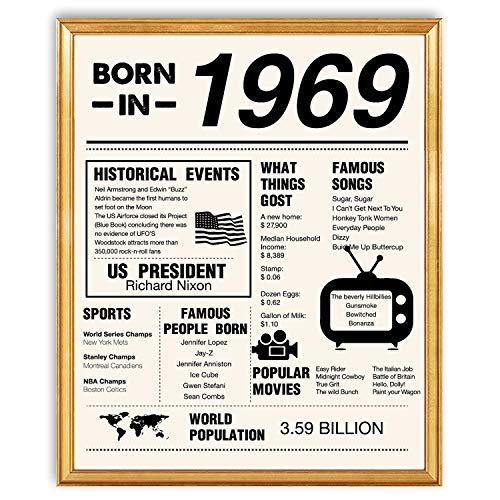yuzi-n 50th Birthday Poster 1969, Schild zum 50. Geburtstag, Geschenk für Frauen und Männer, Party-Dekorationen, 20,3 x 25,4 cm, ungerahmt, 50. Geburtstag Ideen.