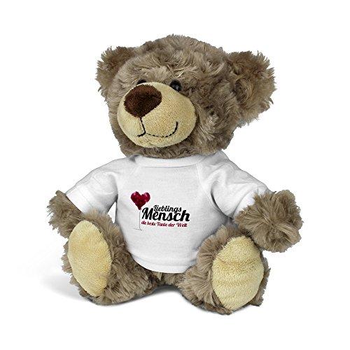 PrintPlanet® Teddybär mit Namen die beste Tante der Welt - Kuscheltier Teddy mit Design Lieblingsmensch