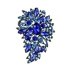 Idea Regalo - Spilla Gioiello,TENYE Marquise Cristallo austriaco Sposa mazzo di fiori e foglie Spilla Blu Nero-fondo