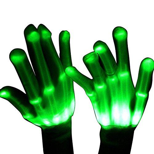 Geschenke für Kinder ab 4 - 10 Jahre, DMbaby Geschenke für Mädchen Jungs LED Blinklicht Bunte Rave Party Handschuhe Grün - Mode-halloween-spiele
