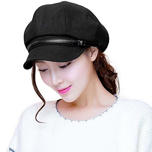 SIGGI Baumwolle Schwarze Zeitungsjunge Mütze Barett Mütze Schirmmütze Cabbie (Chauffeurmütze) Für Damen Mit Visier Hut Baskenmütze