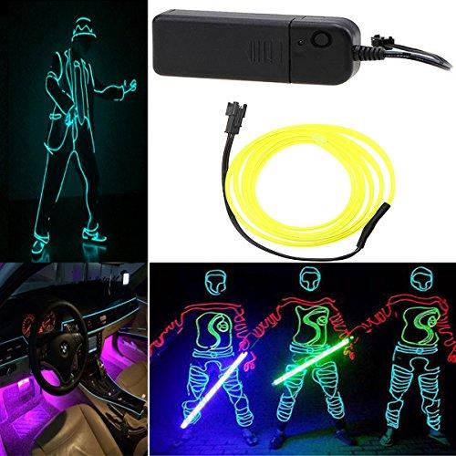Possbay EL Kabel 3m Leuchten Neon Beleuchtung mit Konverter für Weihnachtsfeiern Halloween Kostuem Hochzeit