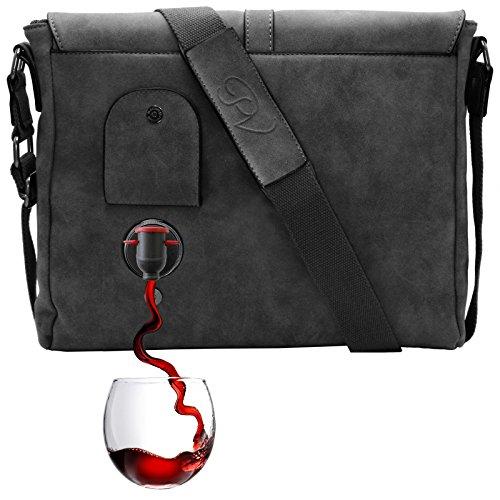 PortoVino Borsello (Grigio Scuro) - Versare 2 bottiglie di vino mentre si è in viaggio.