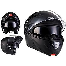 MOTO F19 Matt Black · Moto Scooter Modular-Helmet Cruiser Flip-Up Casco da motocicletta modulare Integrale Sport Urban Urbano · ECE certificado · dos viseras incluidas · incluyendo bolsa de casco · Negro · M (57-58cm)