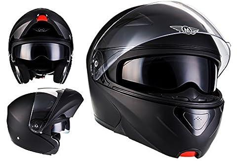 MOTO F19 Matt Black · Urban Casque Modular Mofa Cruiser Flip-Up Scooter Moto Integral Helmet · ECE certifiés · deux visières inclus · y compris le sac de casque · Noir S (55-56 cm) - Agv Sport Moto