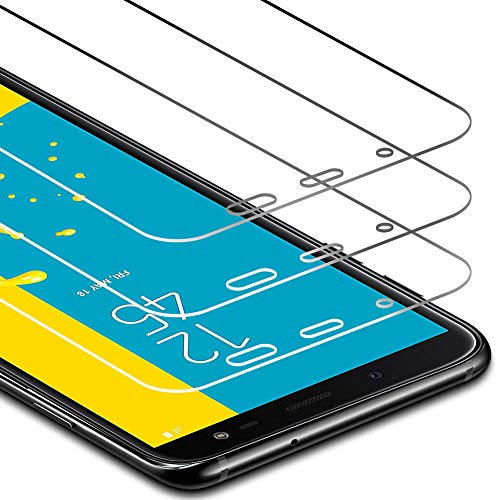 Zloer [Pack de 3] Verre Trempé Samsung Galaxy J6 2018 Film Protection Ecran - [9H Dureté] [Anti Rayures] [sans Bulles, Facile à Installer] pour Protection Ecran Samsung Galaxy J6 2018