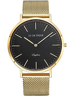 AS DE PIQUE Classic Luxus Armbanduhr schweizer Uhrwerk kratzfestes Saphirglas Mesharmband gold