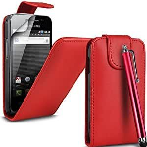 PU Leather Flip Case For SAMSUNG GALAXY ACE GT-S5830 S5839i INCLUDING STYLUS PEN + SCREEN PROTECTOR + CLEANING CLOTH (Red)