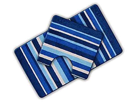 Non Slip Striped 2 Piece Bath Mat & Pedestal Mat Blue Multi Stripes