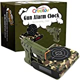 Creatov Target Alarm Clock With Gun, Infrared Laser And Realistic Sound Effects Green