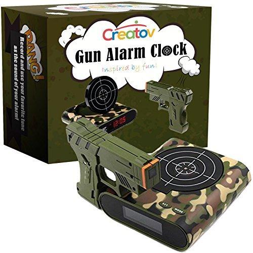 creatov Target Wecker mit Gun, Infrarot-Laser- und realistischen Sound Effekte weiß