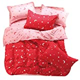 JYE Heimtextilien Rosa Bettwaeschesatz 3/4 Stueck Bettlaken/Bettbezug/Kissenbezug