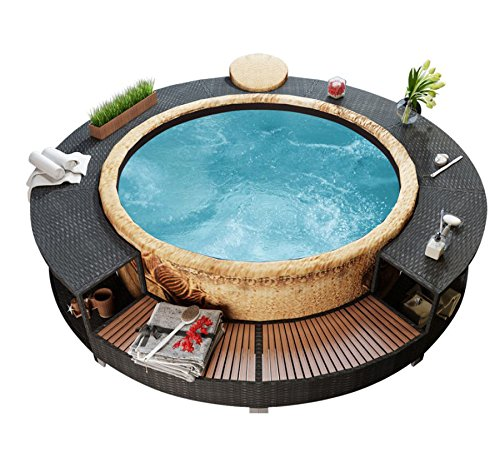 Hot Tub Rattan Surround Black Inflatable System Outdoor Garden Spa Jacuzzi Patio Enclosure Outside Wicker Furniture !!!! FREE Delivery in Max 3-5 Working Days After Dispatch !!!