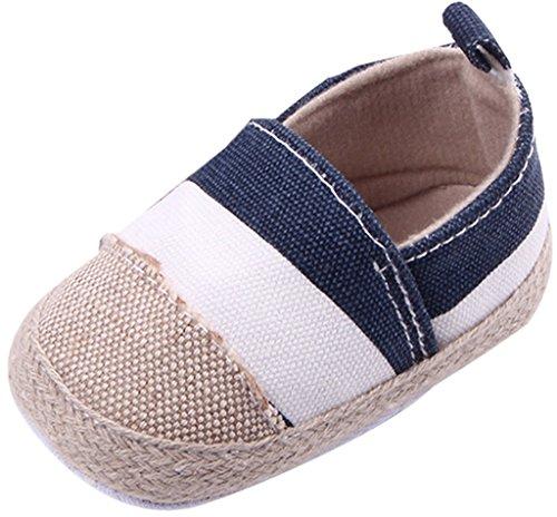 Jimall Baby Lauflernschuhe Sneaker Canvas Schuhe Espadrilles Blau Gestreift Innenlänge12cm