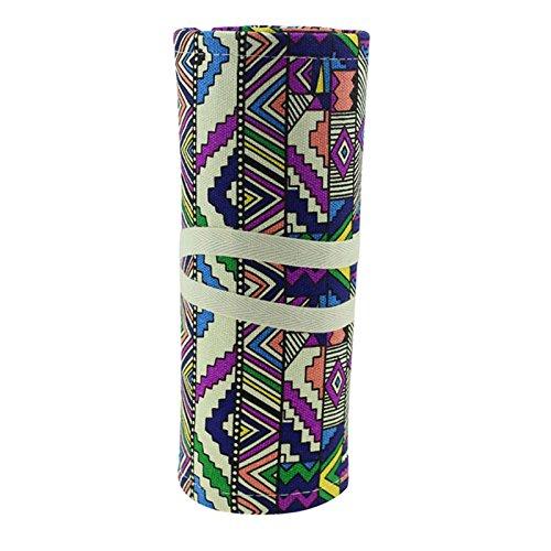 Msmask Toile Rouleau Crayon cosmétiques 36 trous croquis crayon de maquillage, sac Brosse Pouch