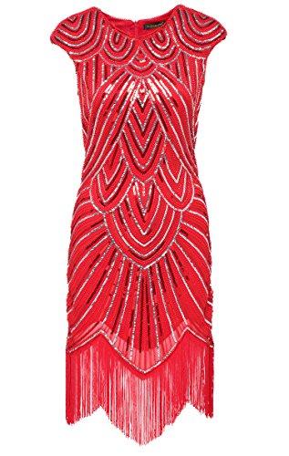 BABEYOND Damen Kleid Retro 1920s Stil Flapper Kleider voller Pailletten Runder Ausschnitt Great Gatsby Motto Party Kleider Damen Kostüm Kleid Hellrot