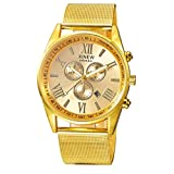 WINWINTOM Uhren Damen Sale,Damen Uhren Fossil Digital, Multifunktions Tag Datum der Männer analoge Quarz Edelstahl Ineinander greifen Armbanduhr Golden