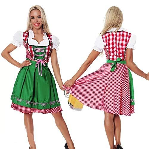 Günstige Kostüm Oktoberfest - thematys Dirndl Oktoberfest Trachtenkleid - Kostüm-Set für Damen - perfekt für Fasching, Karneval & Oktoberfest - 4 Verschiedene Größen (L, Style 1)
