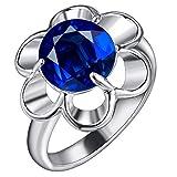 Purmy Damen Ring Versilbert Hochzeitsband mit Tiefes Blau Cubic Zirconia Ausgehöhlt Out Blume Modell Design Süße Kunst Größe 60 (19.1)