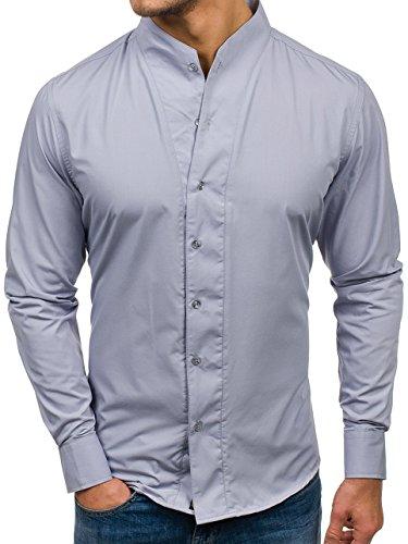 Bolf camicia – a manica lunga – colletto alla coreana – slim fit – casual style – da uomo bolf 5702 grigio l [2b2]
