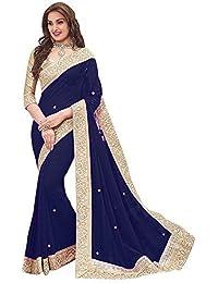 Vinayak Trendz Saree Sale Women's Chiffon Saree With Blouse Piece Sari(Priya Sky)