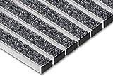 SWmat - Felpudo de Aluminio para Interior y Exterior con Alta eficacia de Limpieza, con Marco de Montaje, Color Gris, Grau/Stein, 60 x 80 cm