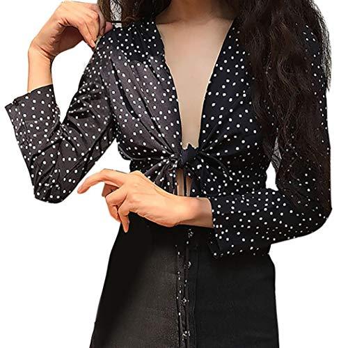 Bazhahei donna top,elegante camicia a maniche lunghe maglietta camicia con scollo a v stampa a punti blusa -2018 moda donna autunno nuovo top
