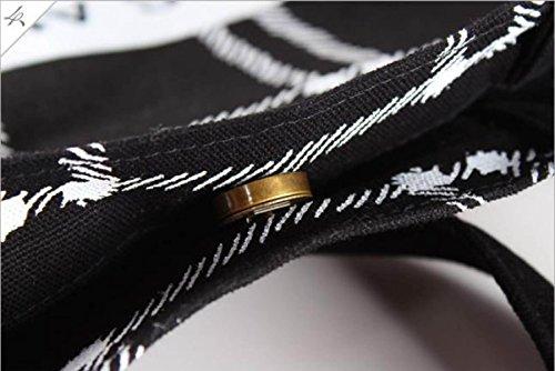 Tote Di Tela Della Cotone Delle Donne Borsa Della Banda Sacchetto Di Spalla Di Stampa Della Lettera Lady Bag Di Capacità Elevata reseau1