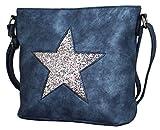 PiriModa Damen Luxus Leder Stern Handtasche Schultasche Clutch TOP TREND Tragetasche (Blau/Silber)