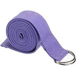 Cinta para practicar yoga de Feitong [180 cm, ajustable], para la cintura, piernas, correa para practicar fitness o yoga, Light Purple