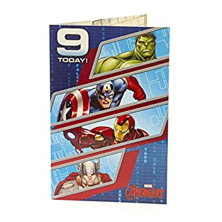 Age 9 Birthday Card - Avengers Birthday Card, 9th Birthday, Featuring Hulk, Captain America, Iron Man and Thor, Ideal Gift Card for Kids - Marvel