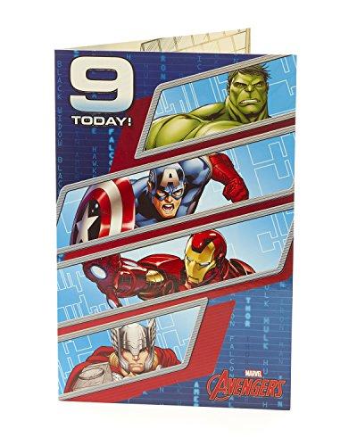 Carlton 480727-0mit Hulk/Thor/Iron Man und Captain America Marvel Avengers 9. Geburtstag Karte