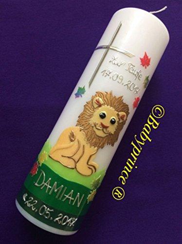 Taufkerze mit Löwe - inkl. Beschriftung von Babyprince® - handgearbeitete Wachsverzierungen - !!! keine Folie !!!