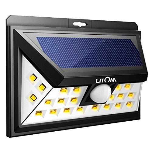 Litom Solar Wandleuchten Warmweiß, 24 Große LED 120°Weitwinkel Bewegungsmelder Solarlampe Wetterfest für Garten, Hof, Auffahrt, Garage