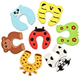 Navaris 7x Finger Klemmschutz für Tür Fenster - Schaumstoff Baby Schutz Kindersicherung - Kinder Sicherung Fingerklemmschutz - Set Tier Motive