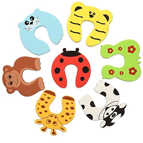 Navaris 7x Finger Klemmschutz für Tür Fenster - Schaumstoff Baby Schutz Kindersicherung - Kinder Sicherung Fingerklemmschutz - Set Tier Motive (Schaumstoff-einsätze Fuß)